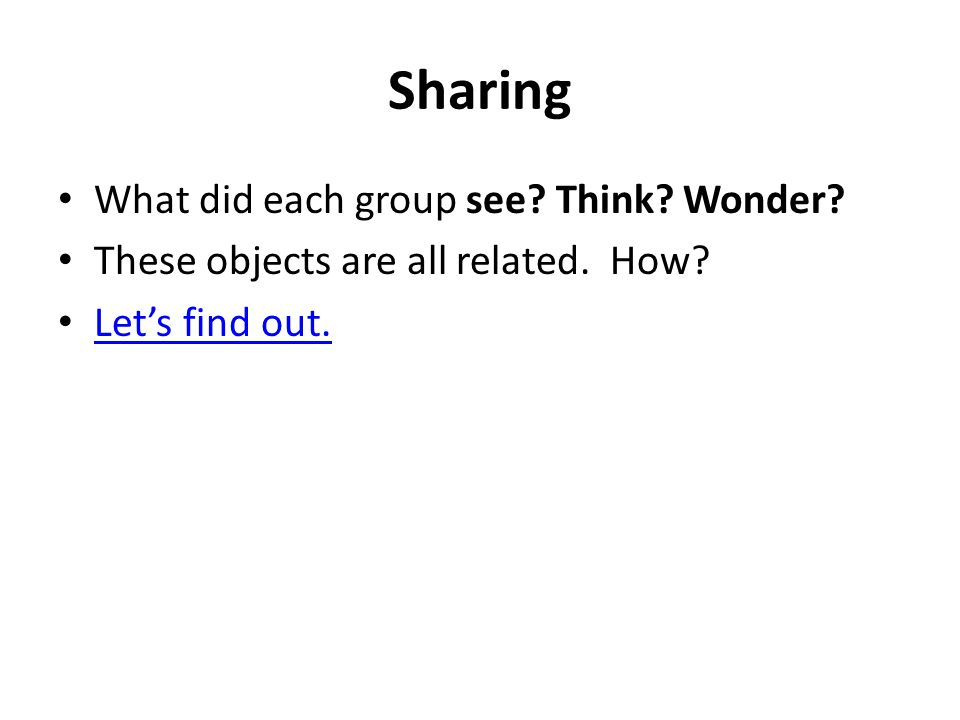 Sharing What did each group see? Think? Wonder? These objects are all related. How? Let's find out.