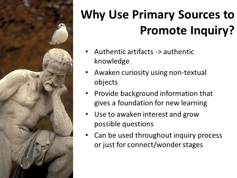 Why Use Primary Sources to Promote Inquiry? Authentic artifacts -> authentic knowledge Awaken curiosity using non-textual objects Provide background i