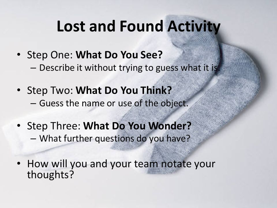 Lost and Found Activity Step One: What Do You See.