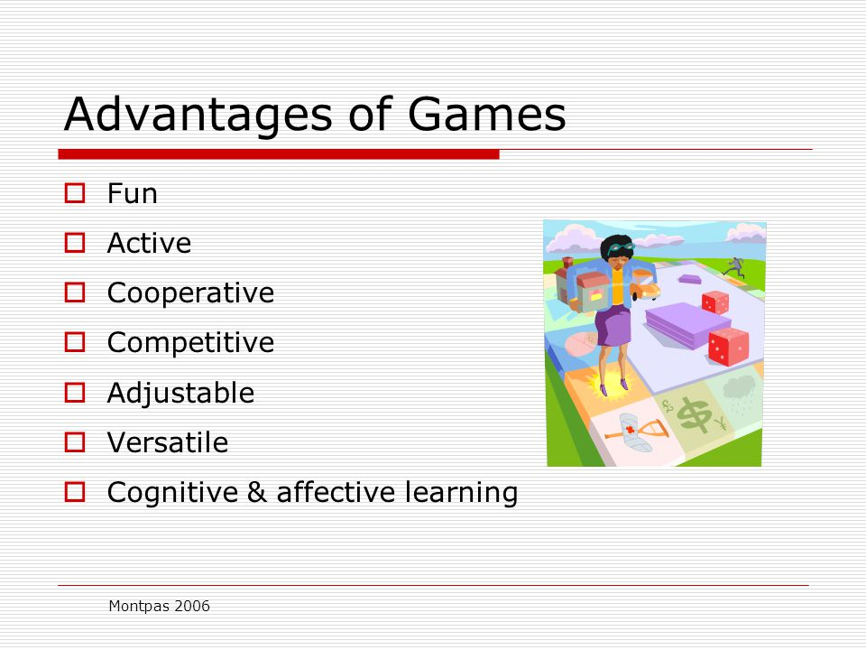 Montpas 2006 Gaming  An instructional method requiring the learner to participate in a competitive activity with preset rules (Fitzgerald, 1997)