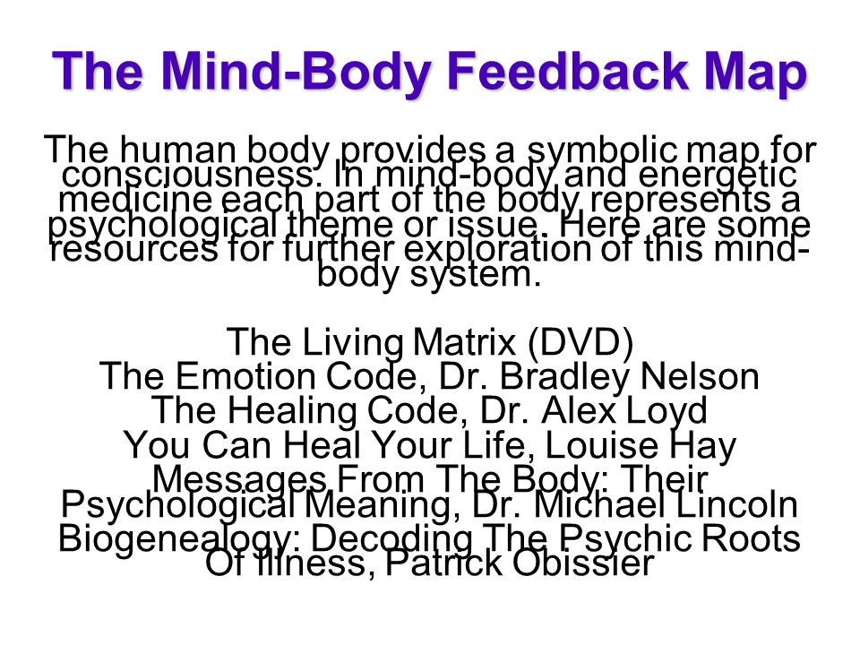 The Mind-Body Feedback Map The human body provides a symbolic map for consciousness. In mind-body and energetic medicine each part of the body represe