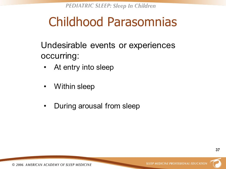 37 Childhood Parasomnias Undesirable events or experiences occurring: At entry into sleep Within sleep During arousal from sleep
