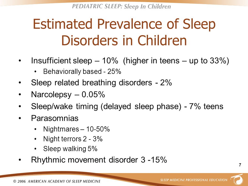 7 Estimated Prevalence of Sleep Disorders in Children Insufficient sleep – 10% (higher in teens – up to 33%) Behaviorally based - 25% Sleep related breathing disorders - 2% Narcolepsy – 0.05% Sleep/wake timing (delayed sleep phase) - 7% teens Parasomnias Nightmares – 10-50% Night terrors 2 - 3% Sleep walking 5% Rhythmic movement disorder 3 -15%
