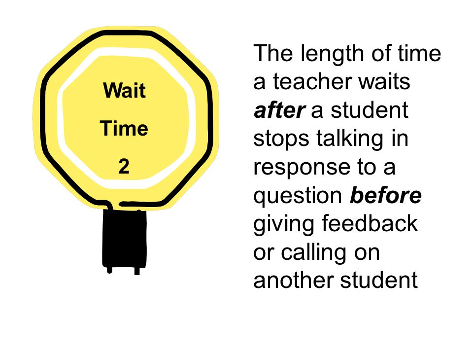 The length of time a teacher waits after a student stops talking in response to a question before giving feedback or calling on another student Wait Time 2