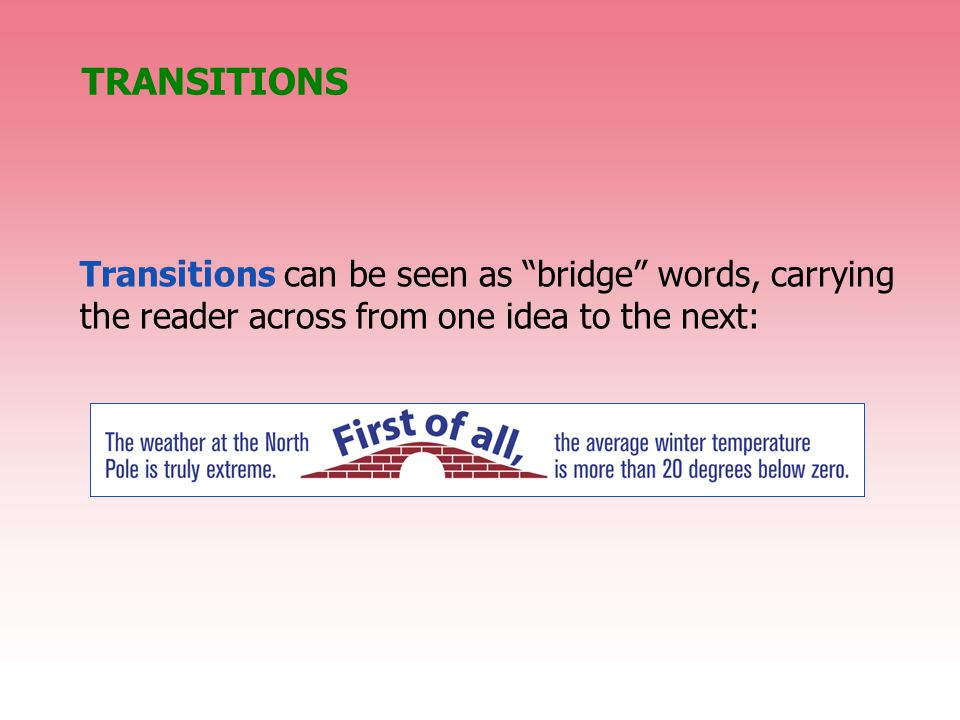 TRANSITIONS Transitions can be seen as bridge words, carrying the reader across from one idea to the next: