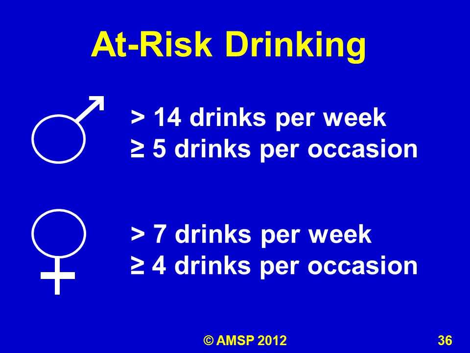 At-Risk Drinking > 7 drinks per week ≥ 4 drinks per occasion > 14 drinks per week ≥ 5 drinks per occasion © AMSP 2012 36