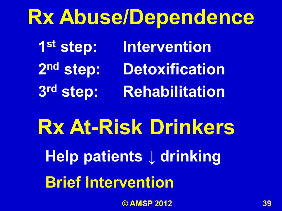 1 st step: Intervention 2 nd step: Detoxification 3 rd step: Rehabilitation Rx Abuse/Dependence Rx At-Risk Drinkers Help patients ↓ drinking Brief Intervention © AMSP 2012 39