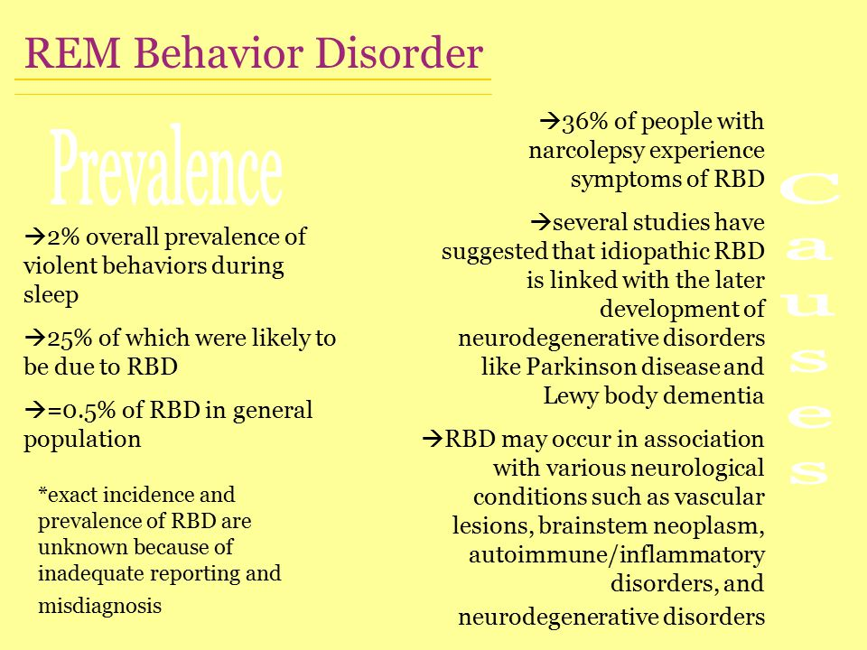  2% overall prevalence of violent behaviors during sleep  25% of which were likely to be due to RBD  =0.5% of RBD in general population *exact incidence and prevalence of RBD are unknown because of inadequate reporting and misdiagnosis REM Behavior Disorder  36% of people with narcolepsy experience symptoms of RBD  several studies have suggested that idiopathic RBD is linked with the later development of neurodegenerative disorders like Parkinson disease and Lewy body dementia  RBD may occur in association with various neurological conditions such as vascular lesions, brainstem neoplasm, autoimmune/inflammatory disorders, and neurodegenerative disorders