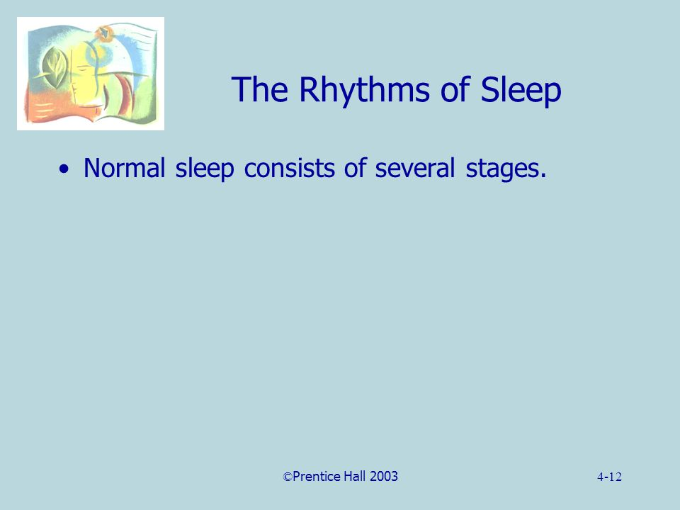 ©Prentice Hall 20034-12 The Rhythms of Sleep Normal sleep consists of several stages.