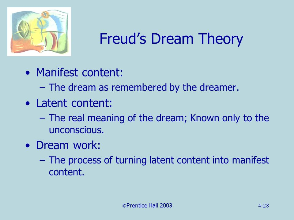 ©Prentice Hall 20034-28 Freud's Dream Theory Manifest content: –The dream as remembered by the dreamer.