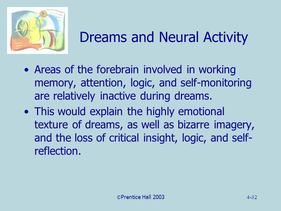©Prentice Hall 20034-32 Dreams and Neural Activity Areas of the forebrain involved in working memory, attention, logic, and self-monitoring are relatively inactive during dreams.
