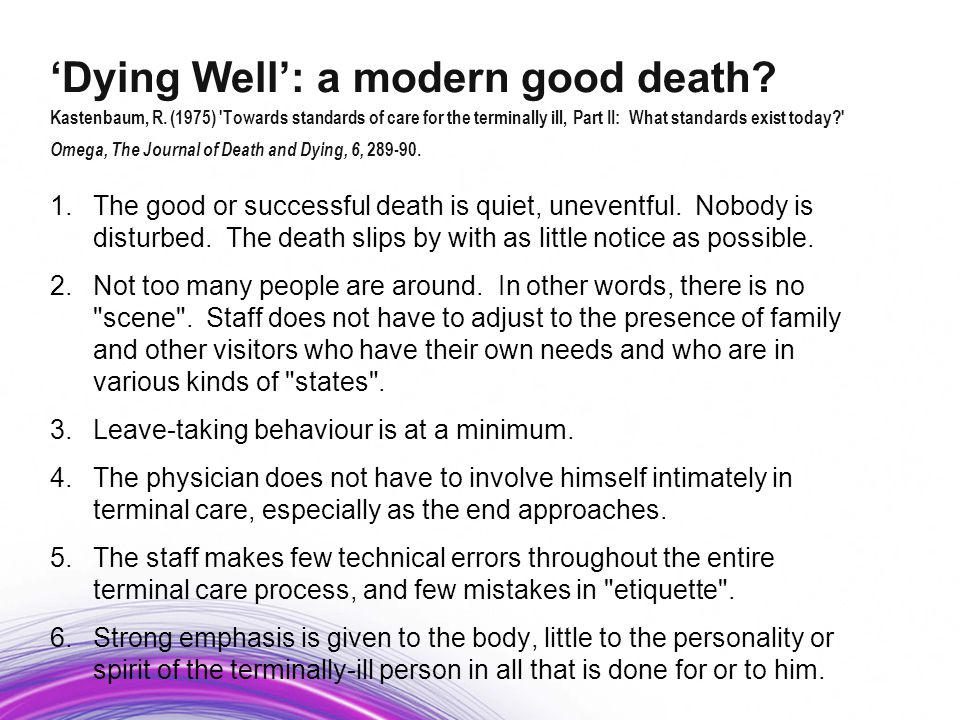 'Dying Well': a modern good death? Kastenbaum, R. (1975) 'Towards standards of care for the terminally ill, Part II: What standards exist today?' Omeg