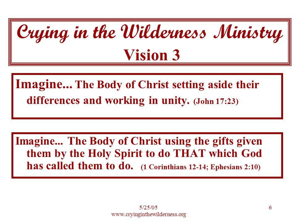 5/25/05 www.cryinginthewilderness.org 7 Imagine...