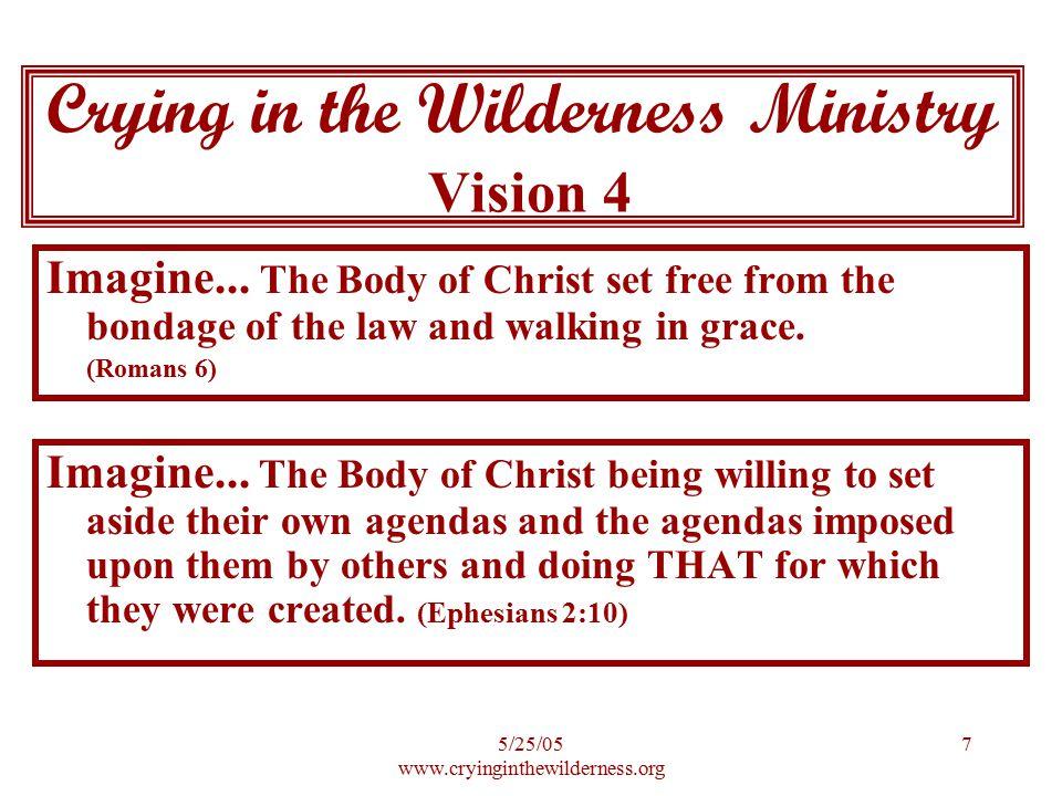 5/25/05 www.cryinginthewilderness.org 8 Imagine...