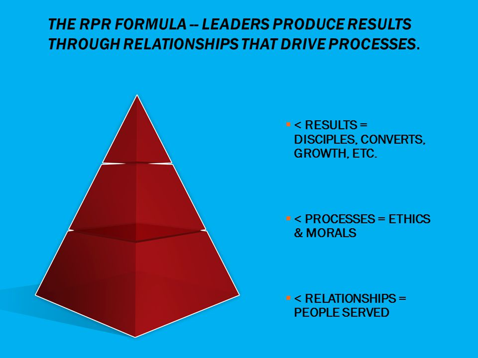 THE RPR FORMULA -- LEADERS PRODUCE RESULTS THROUGH RELATIONSHIPS THAT DRIVE PROCESSES.  < RESULTS = DISCIPLES, CONVERTS, GROWTH, ETC.  < PROCESSES =