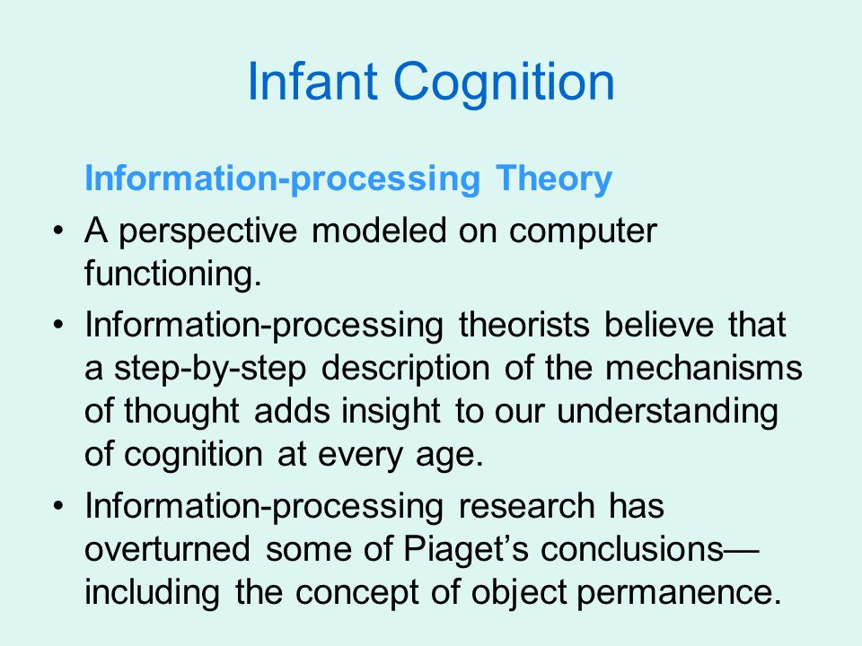 Information-processing Theory A perspective modeled on computer functioning. Information-processing theorists believe that a step-by-step description