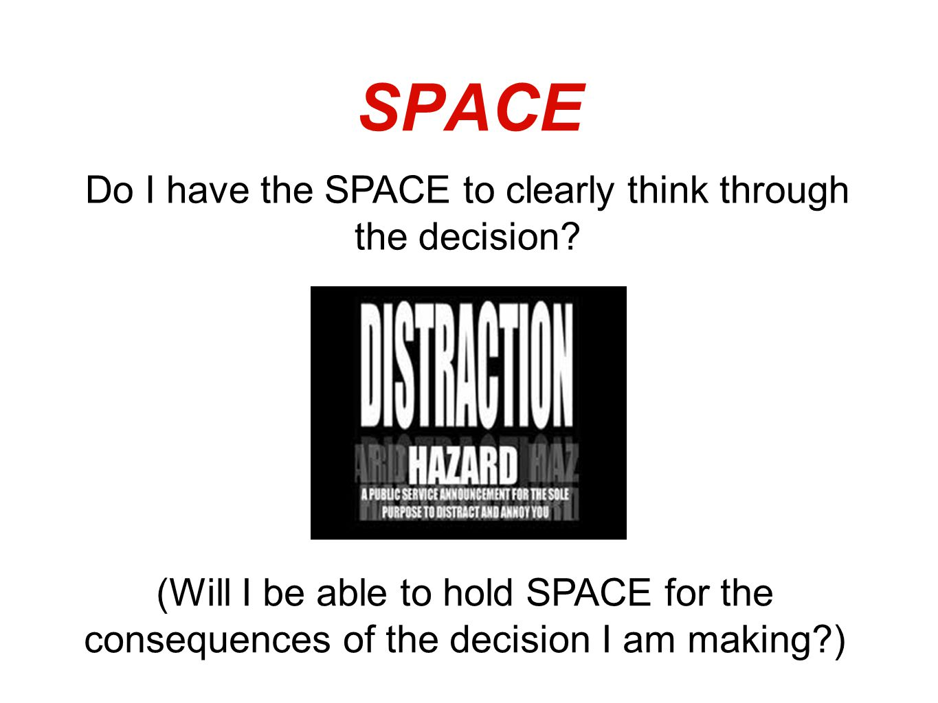 SPACE Do I have the SPACE to clearly think through the decision.
