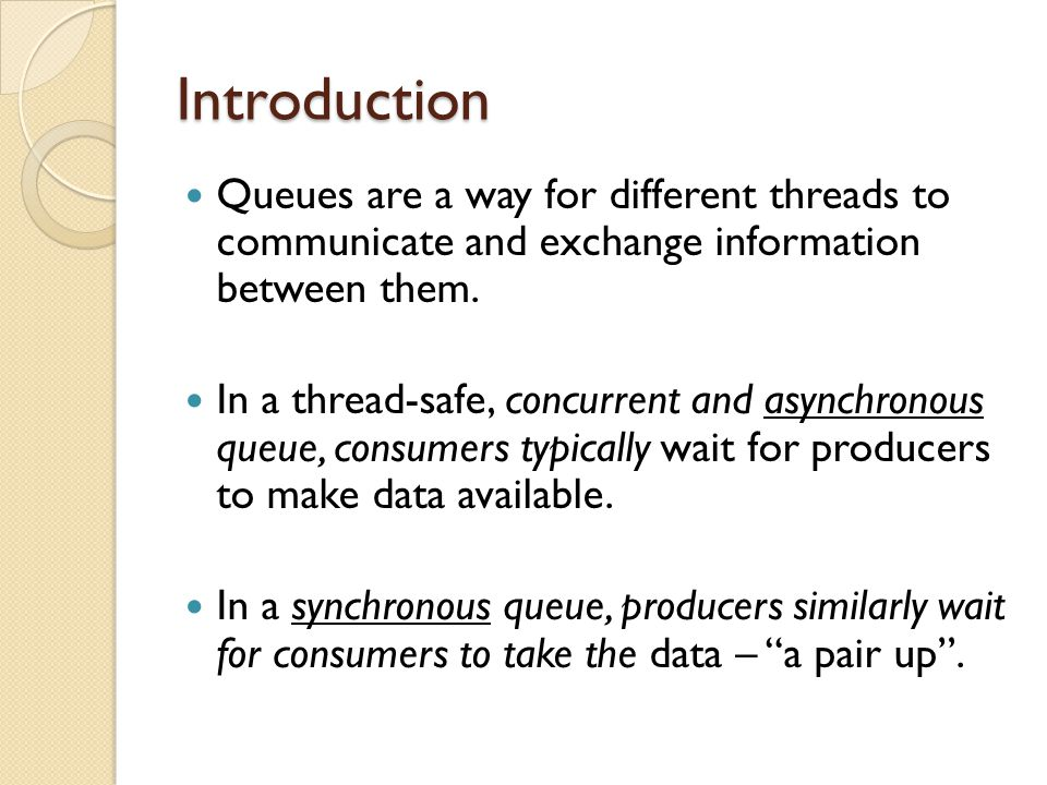 Introduction Queues are a way for different threads to communicate and exchange information between them.