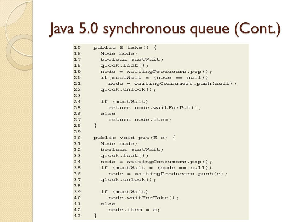 Java 5.0 synchronous queue (Cont.)