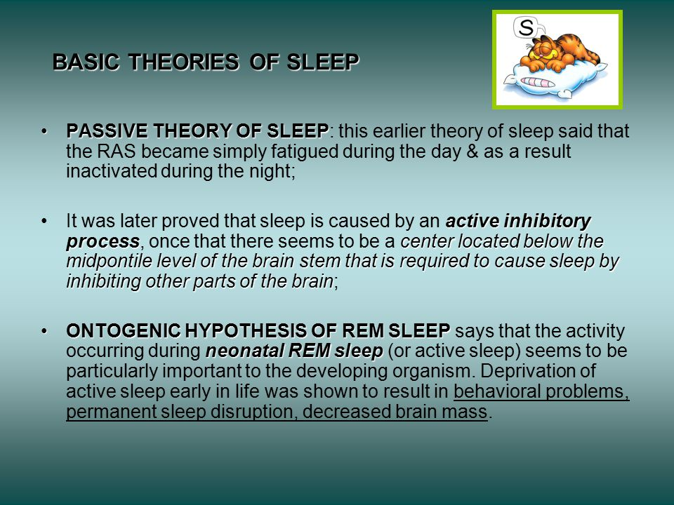BASIC THEORIES OF SLEEP PASSIVE THEORY OF SLEEPPASSIVE THEORY OF SLEEP: this earlier theory of sleep said that the RAS became simply fatigued during the day & as a result inactivated during the night; active inhibitory processcenter located below the midpontile level of the brain stem that is required to cause sleep by inhibiting other parts of the brainIt was later proved that sleep is caused by an active inhibitory process, once that there seems to be a center located below the midpontile level of the brain stem that is required to cause sleep by inhibiting other parts of the brain; ONTOGENIC HYPOTHESIS OF REM SLEEP neonatal REM sleepONTOGENIC HYPOTHESIS OF REM SLEEP says that the activity occurring during neonatal REM sleep (or active sleep) seems to be particularly important to the developing organism.