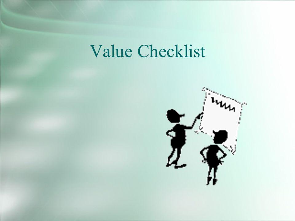 Value Checklist