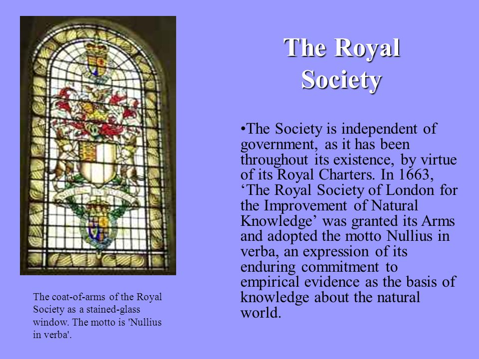 The Royal Society The coat-of-arms of the Royal Society as a stained-glass window.