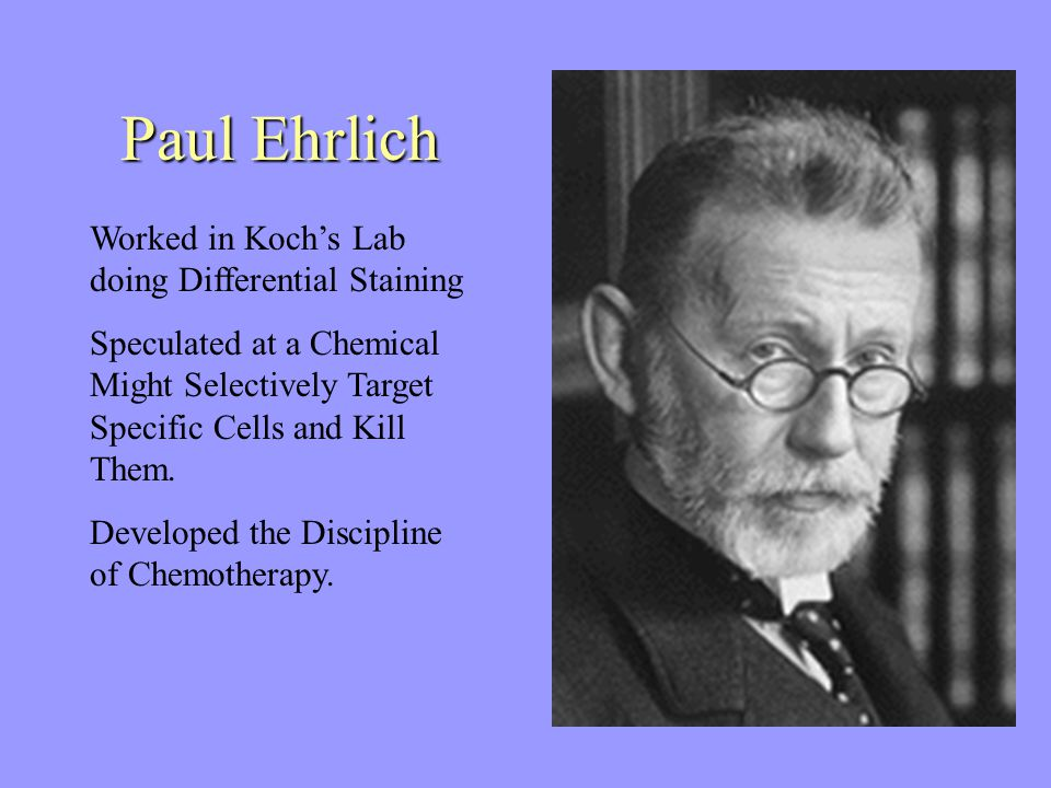 Paul Ehrlich Worked in Koch's Lab doing Differential Staining Speculated at a Chemical Might Selectively Target Specific Cells and Kill Them.