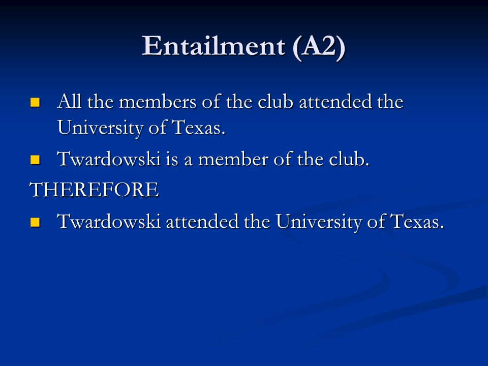 Entailment (A2) All the members of the club attended the University of Texas. All the members of the club attended the University of Texas. Twardowski