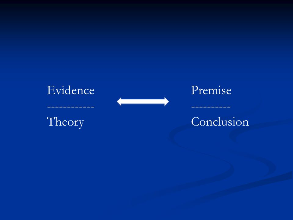 Premise ---------- Conclusion Evidence ------------ Theory