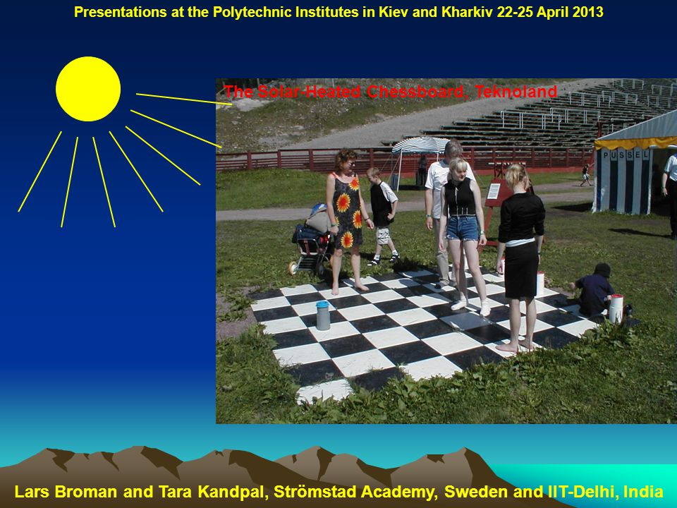 The Solar-Heated Chessboard, Teknoland Lars Broman and Tara Kandpal, Strömstad Academy, Sweden and IIT-Delhi, India Presentations at the Polytechnic Institutes in Kiev and Kharkiv 22-25 April 2013