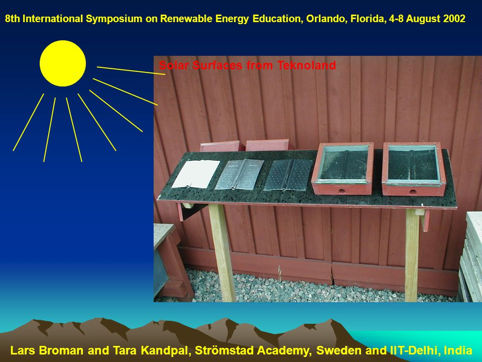 8th International Symposium on Renewable Energy Education, Orlando, Florida, 4-8 August 2002 Solar Surfaces from Teknoland Lars Broman and Tara Kandpal, Strömstad Academy, Sweden and IIT-Delhi, India