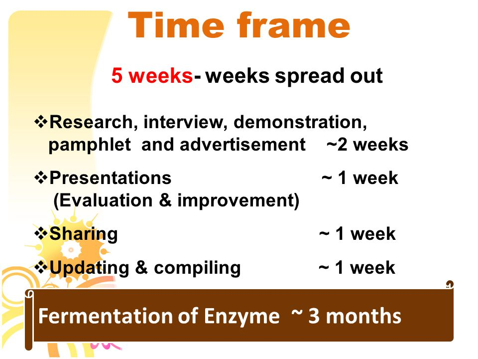 Time frame 5 weeks- weeks spread out  Research, interview, demonstration, pamphlet and advertisement ~2 weeks  Presentations ~ 1 week (Evaluation & improvement)  Sharing ~ 1 week  Updating & compiling ~ 1 week Fermentation of Enzyme ~ 3 months