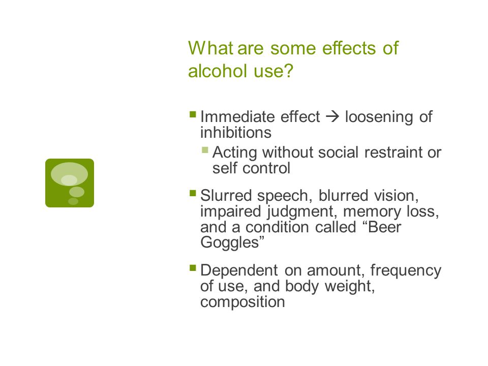 What are some effects of alcohol use.