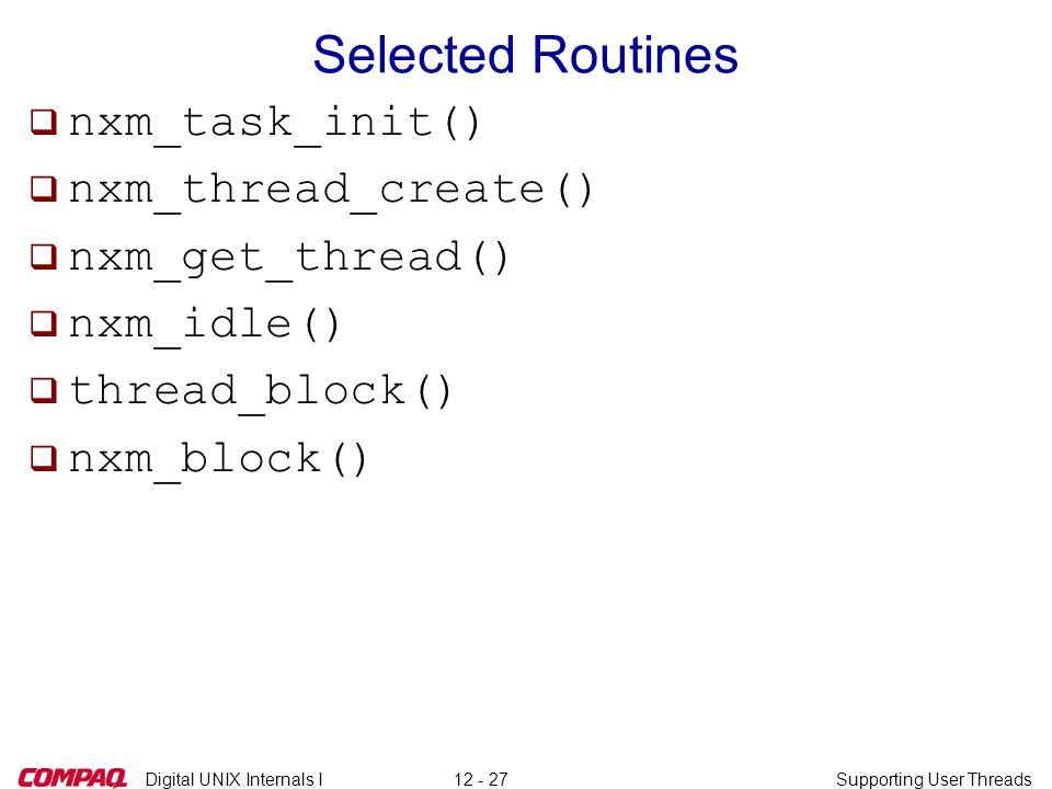 Digital UNIX Internals ISupporting User Threads12 - 27 Selected Routines q nxm_task_init() q nxm_thread_create() q nxm_get_thread() q nxm_idle() q thr