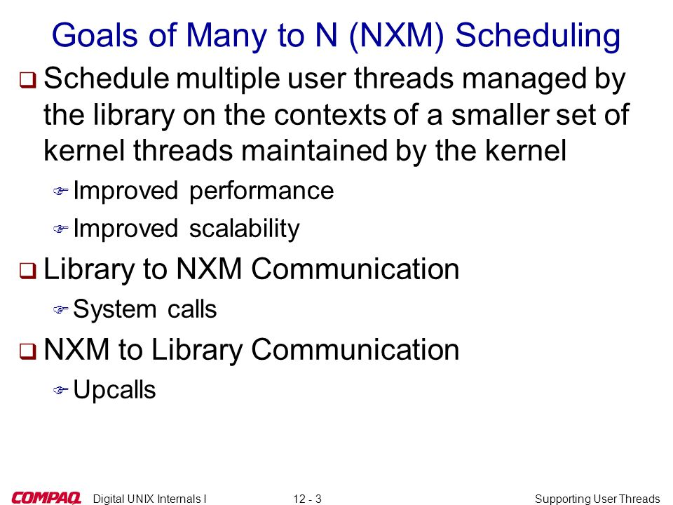 Digital UNIX Internals ISupporting User Threads12 - 4 NXM Terminology Physical Processors Kernel's Structures for the Process (Mach Threads) Scheduler Threads (Virtual Processors) Library's Structures for the Process User Threads (Pthreads) Bound Threads LibraryApplication