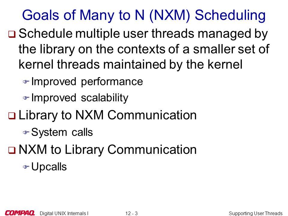 Digital UNIX Internals ISupporting User Threads12 - 34 thread_block() and NXM (3)  nxm_block() continued q....