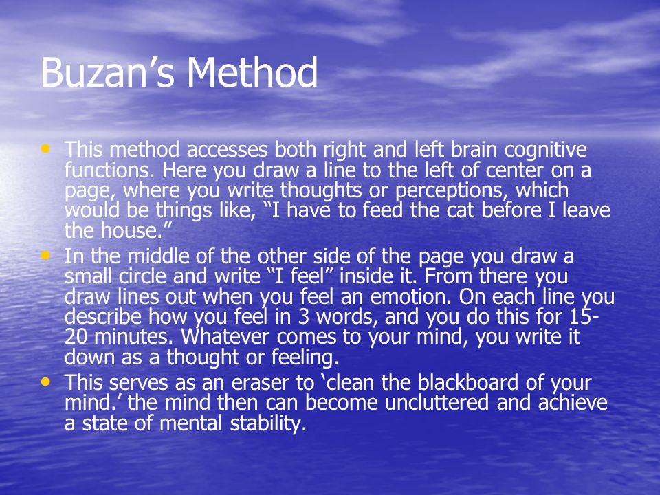 Buzan's Method This method accesses both right and left brain cognitive functions.