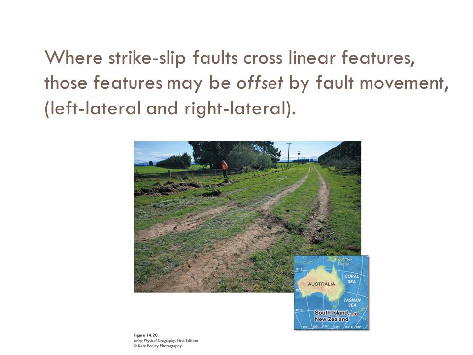 Where strike-slip faults cross linear features, those features may be offset by fault movement, (left-lateral and right-lateral).