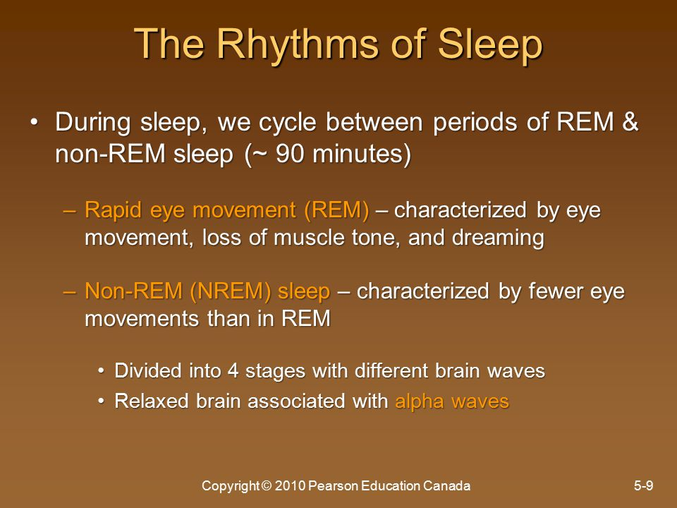 The Rhythms of Sleep During sleep, we cycle between periods of REM & non-REM sleep (~ 90 minutes)During sleep, we cycle between periods of REM & non-REM sleep (~ 90 minutes) –Rapid eye movement (REM) – characterized by eye movement, loss of muscle tone, and dreaming –Non-REM (NREM) sleep – characterized by fewer eye movements than in REM Divided into 4 stages with different brain wavesDivided into 4 stages with different brain waves Relaxed brain associated with alpha wavesRelaxed brain associated with alpha waves Copyright © 2010 Pearson Education Canada5-9