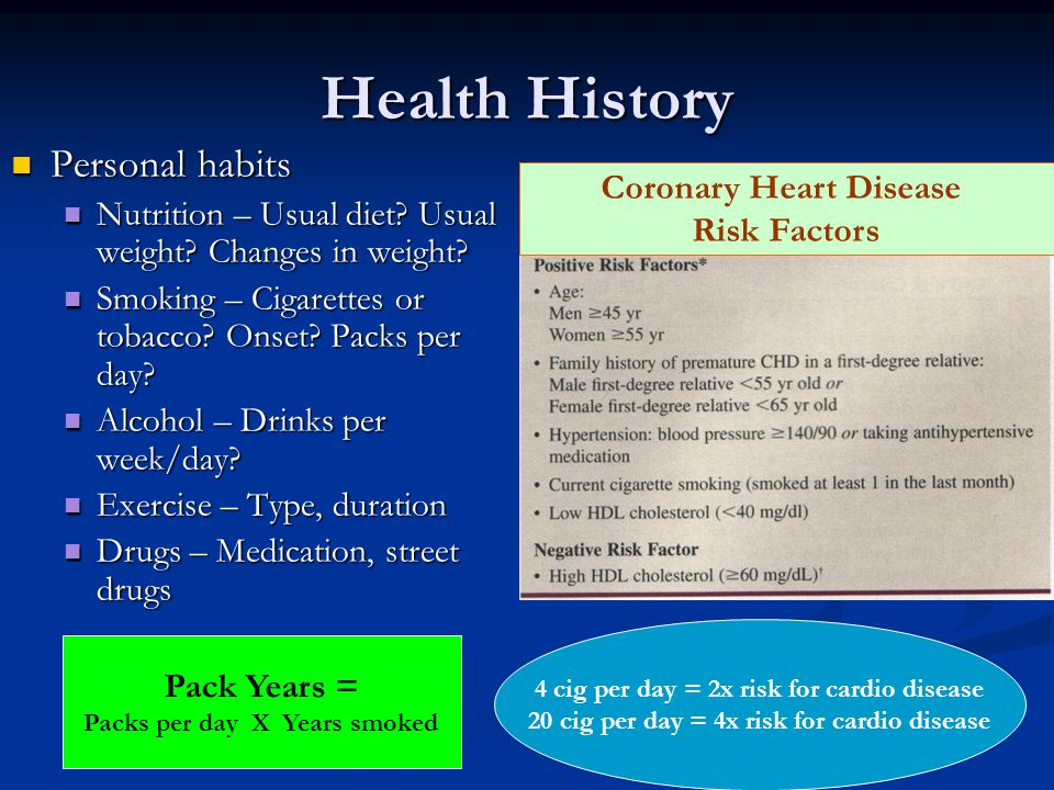 Health History Personal habits Personal habits Nutrition – Usual diet? Usual weight? Changes in weight? Nutrition – Usual diet? Usual weight? Changes