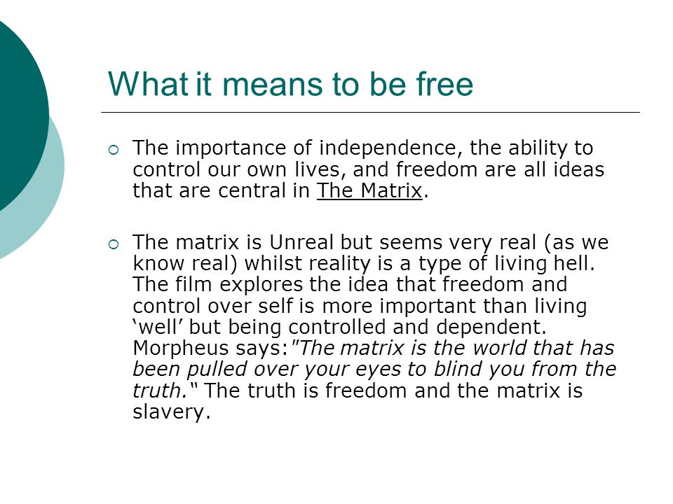 What it means to be free  The importance of independence, the ability to control our own lives, and freedom are all ideas that are central in The Matrix.