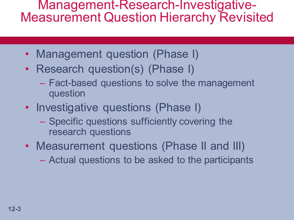 12-4 Phase I Concerns in Instrument Design Strategy –What type of data among four types.