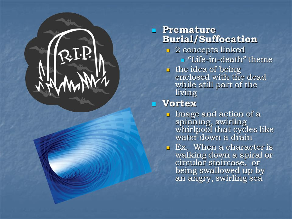 Premature Burial/Suffocation Premature Burial/Suffocation 2 concepts linked Life-in-death theme the idea of being enclosed with the dead while still part of the living Vortex Vortex Image and action of a spinning, swirling whirlpool that cycles like water down a drain Ex.