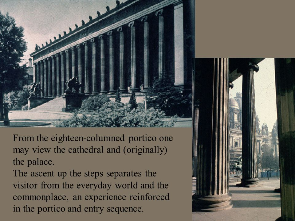 From the eighteen-columned portico one may view the cathedral and (originally) the palace.