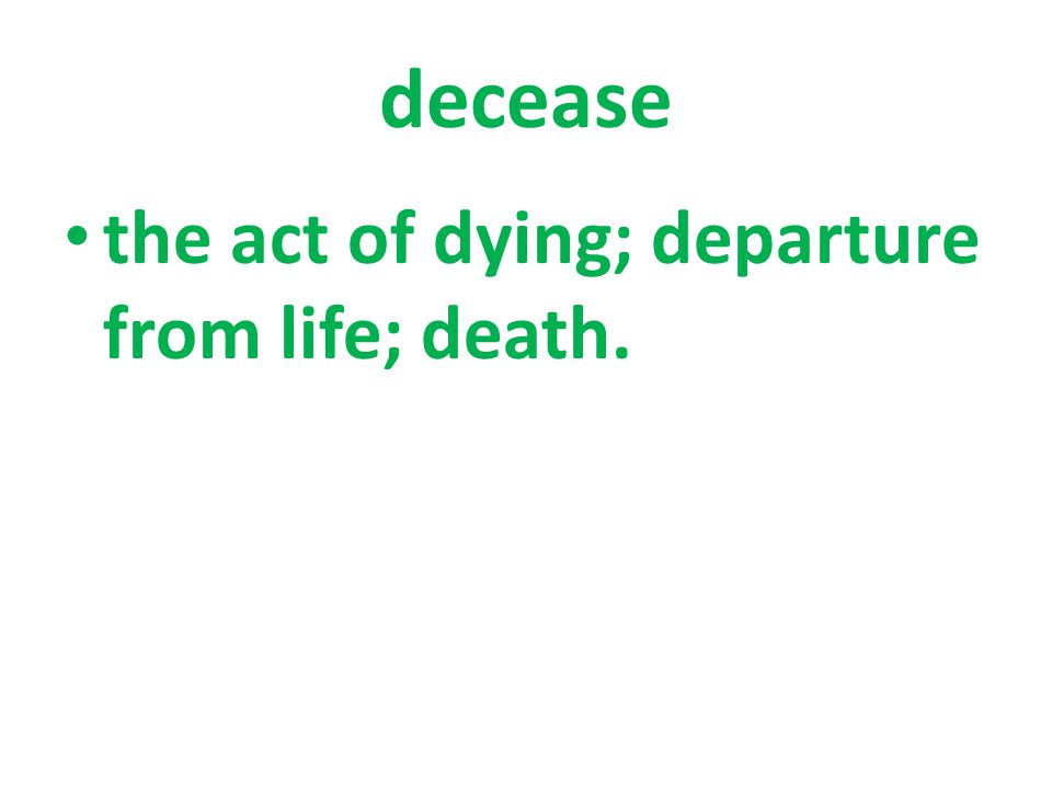 the act of dying; departure from life; death.