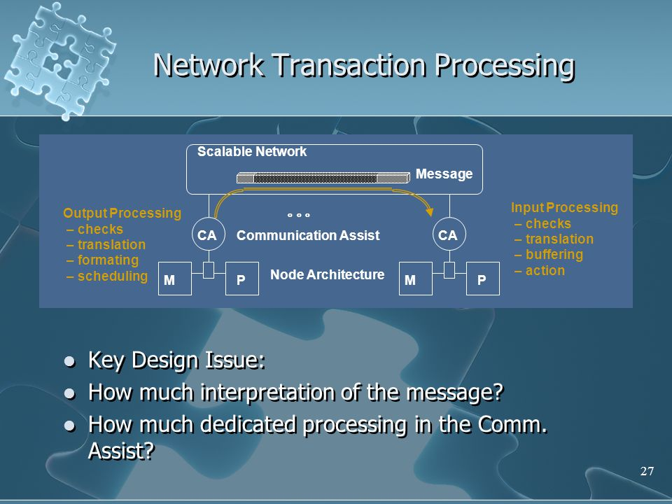 27 Network Transaction Processing Key Design Issue: How much interpretation of the message.