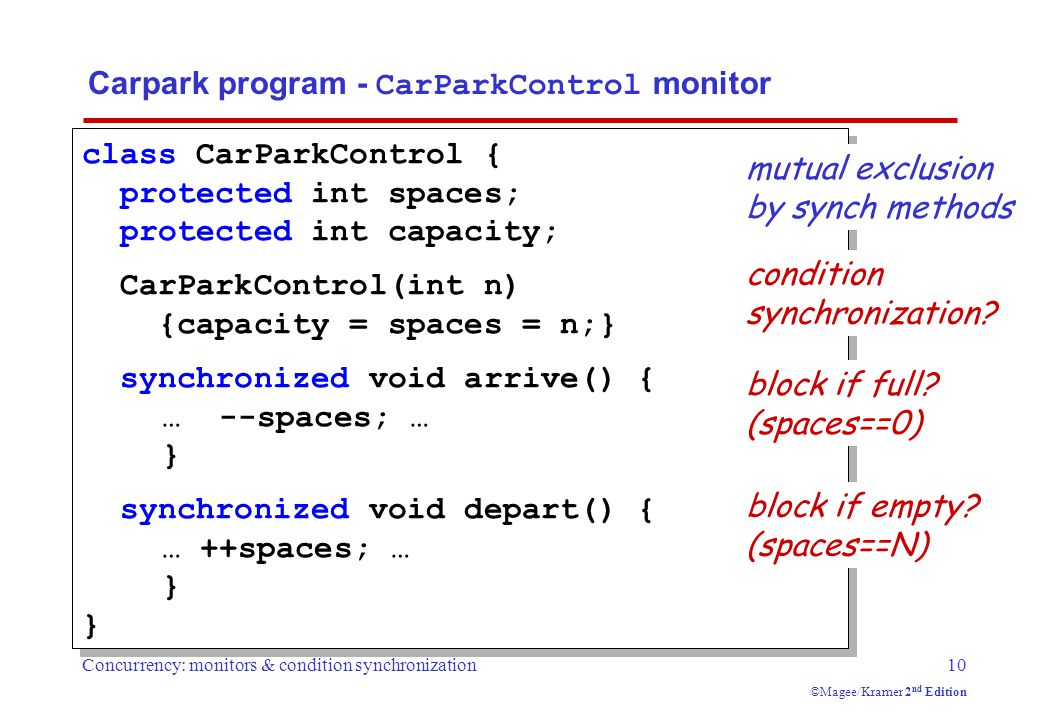 Concurrency: monitors & condition synchronization10 ©Magee/Kramer 2 nd Edition Carpark program - CarParkControl monitor class CarParkControl { protected int spaces; protected int capacity; CarParkControl(int n) {capacity = spaces = n;} synchronized void arrive() { … --spaces; … } synchronized void depart() { … ++spaces; … } condition synchronization.