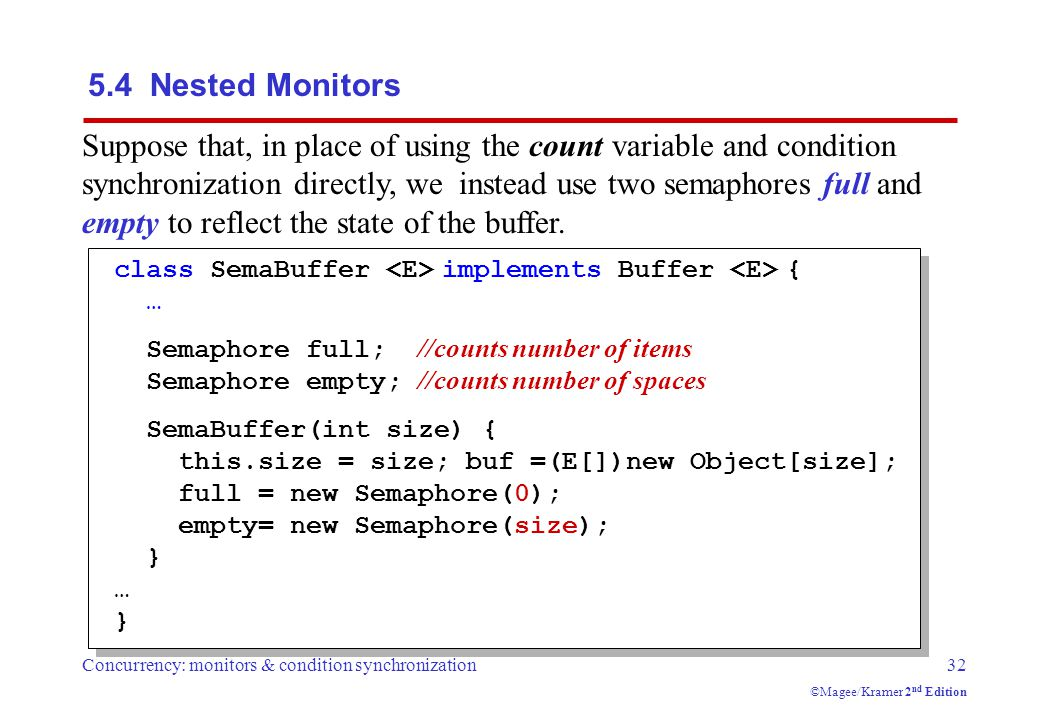 Concurrency: monitors & condition synchronization32 ©Magee/Kramer 2 nd Edition Suppose that, in place of using the count variable and condition synchronization directly, we instead use two semaphores full and empty to reflect the state of the buffer.