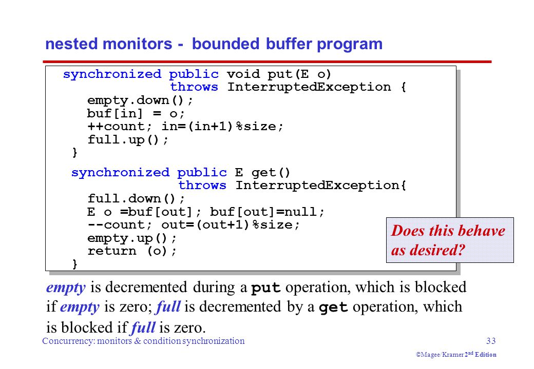 Concurrency: monitors & condition synchronization33 ©Magee/Kramer 2 nd Edition nested monitors - bounded buffer program synchronized public void put(E o) throws InterruptedException { empty.down(); buf[in] = o; ++count; in=(in+1)%size; full.up(); } synchronized public E get() throws InterruptedException{ full.down(); E o =buf[out]; buf[out]=null; --count; out=(out+1)%size; empty.up(); return (o); } empty is decremented during a put operation, which is blocked if empty is zero; full is decremented by a get operation, which is blocked if full is zero.