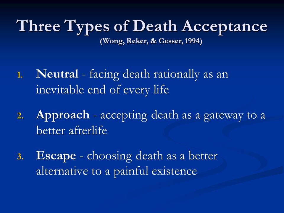 Three Types of Death Acceptance (Wong, Reker, & Gesser, 1994) 1.